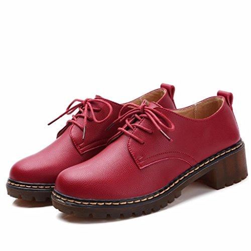 Rojo Tacon cm de Cordones Cuero Zapatos Oxford Moonwalker con Mujer con 3 5 q6P7xU8w