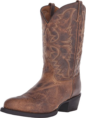 (Laredo Men's 12'' Birchwood Western Embroidered Round Toe Cowboy Boots, Tan Leather, 11 D)