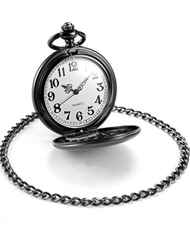 AMPM24 Vintage Black Men's Women Ladies Quartz Pendent Pocket Watch Clock Chain Gift WPK026 by AMPM24 (Image #2)