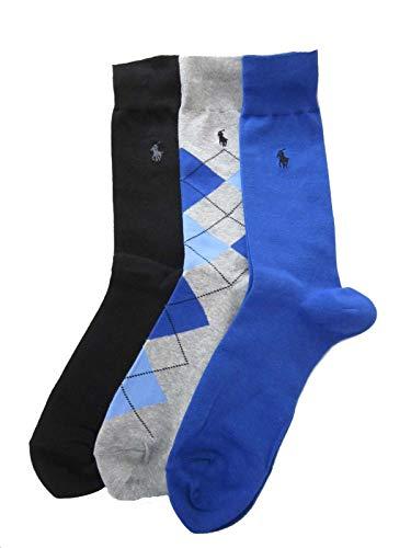 (Polo Ralph Lauren Men's Set of Three Argyle Dress Socks (10-13, Royal Blue/Heather Grey/Black))
