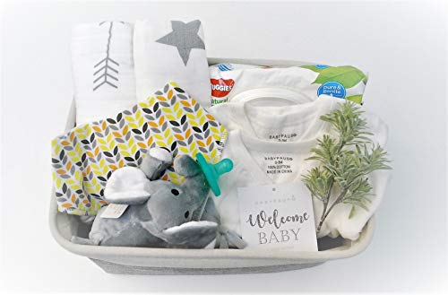 8 Piece Baby Shower Gift Basket Set - Organic Cotton Bamboo Muslin Swaddle, Plush Animal Pacifier, Kimono Onesie Bodysuit, Multipurpose Diaper Basket, Bandana Bib - Yellow Geo