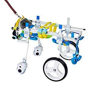 HiHydro 4 Wheel Adjustable Dog Wheelchair Pet Wheelchair for Handicapped Hind Legs Small Dog Cat/Doggie/Puppy Walk…