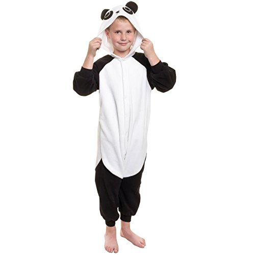 [Silver Lilly Kids Panda Animal Costume - Childrens Plush One Piece Pajamas (Y)] (Animals Dressed Up In Halloween Costumes)