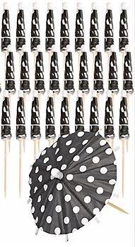 Price comparison product image Black with White Polka Dot Umbrella Picks Paper Picks Set of 12
