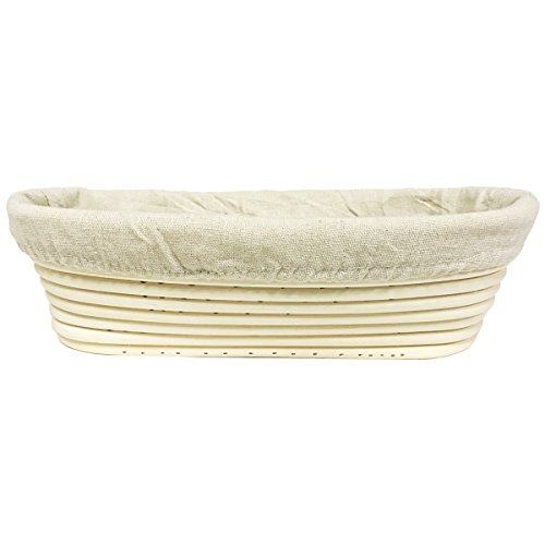Agile-shop Oval Long Banneton Brotform Bread Dough Proofing Rising Rattan Handmade Basket & Liner (11)