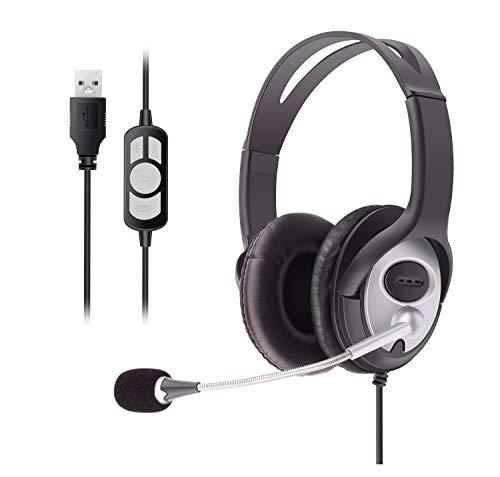 🥇 Auriculares USB con cable estéreo micrófono cancelación de ruido y controles en línea