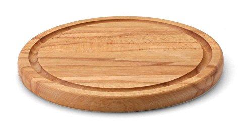 Continenta Fleischteller rund mit Saftrille aus Buche Kernholz Profi Qualität, Steakteller, Brotzeitteller, Holzteller, Tranchierteller, Ø 23,5 x 2 cm