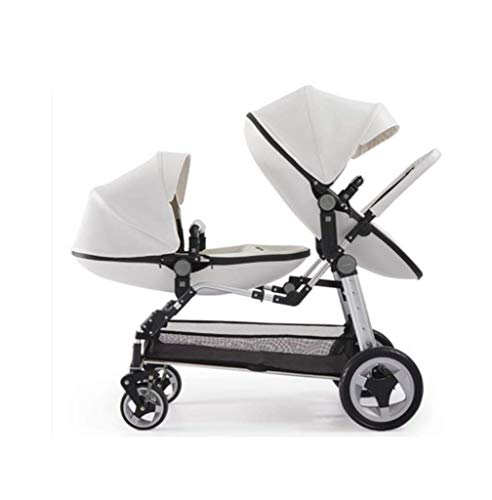 High-end Twin Stroller - High Landscape Eggshell Baby Stroller Can do Reclining Can Put Two Babies, Suitable for Babies 0 to 3 Years Old,White