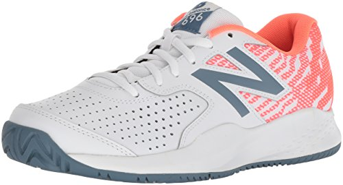 New Balance Women's 696v3 Hard Court Tennis Shoe, White, 6.5 B US