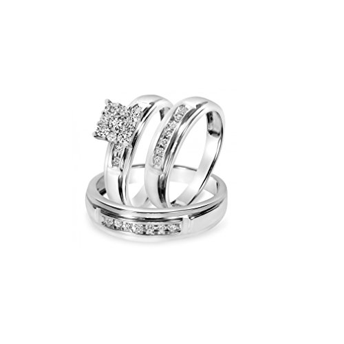 Trio 3 Pcs,Him His Her Couple Diamond 10k White Gold Engagement Wedding Anniversary Men Women Ring Set,All Us Sizes 4-13 Available