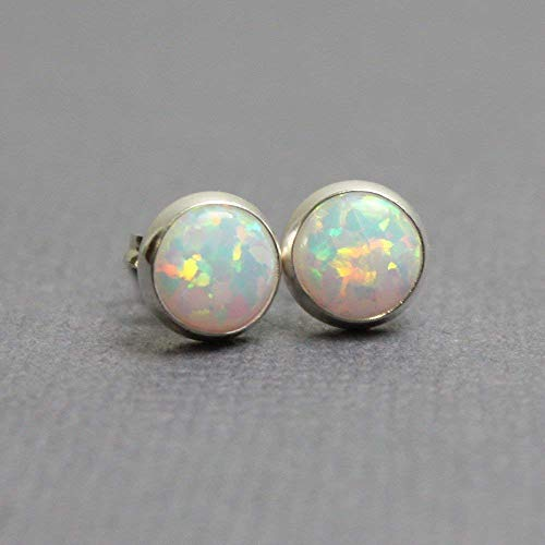 Opal Stud Earrings, Simulated 6mm, Sterling Silver