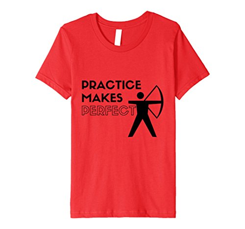 Kids Practice Makes Perfect Cool Archery T-shirt 10 Red