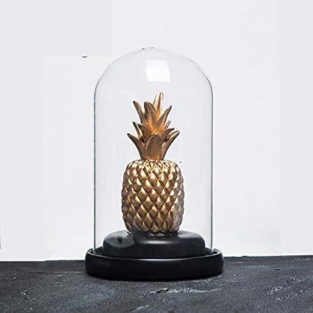 OYBB Adornos Escultura Estilo Minimalista nórdico Hogar Sala de Estar Creativa Vinoteca Decoraciones Suaves Adornos Cubierta de Vidrio Pantalla de Cactus Resina Cubierta de Vidrio de piña Alto 16cm
