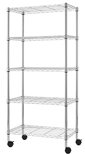 Finnhomy Heavy Duty 5 Tier Wire Shelving Unit NSF CERTIFIED 5 Shelves Storage Rack with Wheels Thicken Steel Tube  Tier Shelving Unit