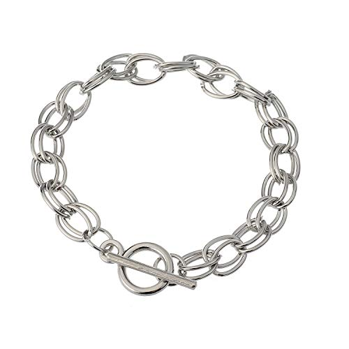 Tiffany Style Oval Silver Toggle - RUBYCA 20Pcs Toggle Clasp Silver Color Charm Rolo Bracelet Double Oval Link Chain 20cm DIY Jewelry