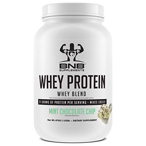 BNB 100% Whey Protein - Mint Chocolate Chip Flavor - 21g of Protein per Serving - 30 Servings - Mixes Easily - Delicious Protein Recovery Shake - by BNB Supplements ()