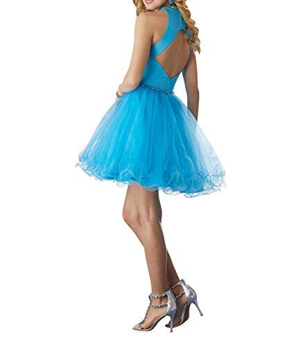 Neckholder Brau Blau Kurz Himmel La Kleider Tuell Abendkleider Partykleider mia Jugendweihe Formalkleider Ballkleider Mini xgqnI5