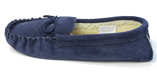 Mens Mokkers Real Suede Faux Sheepskin Leather Moccasin Slippers Brown Blue Size 6-13 Blue fDsrg