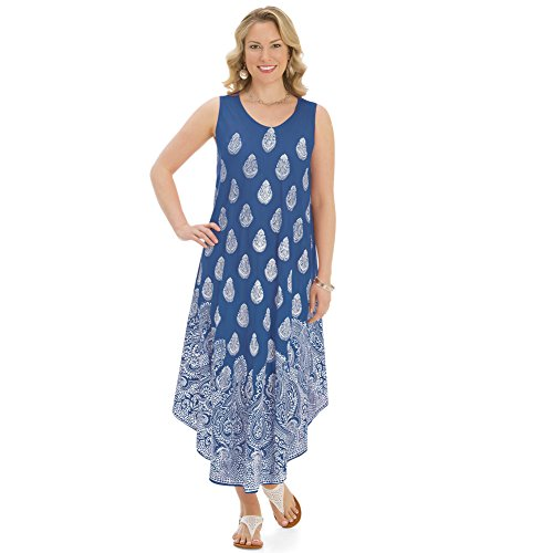 Royal Women's Blue Paisley Dress Print Sleeveless Collections qpwx1XRC1