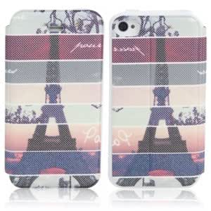 Effiel Tower + Streak Pattern Flip-open Protective Leather Case for iPhone 4/4S