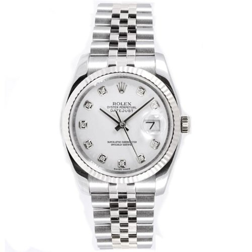 Rolex Mens New Style Heavy Band Stainless Steel Datejust Model 116234 Jubilee Band 18K White Gold Fluted Bezel White Diamond Dial