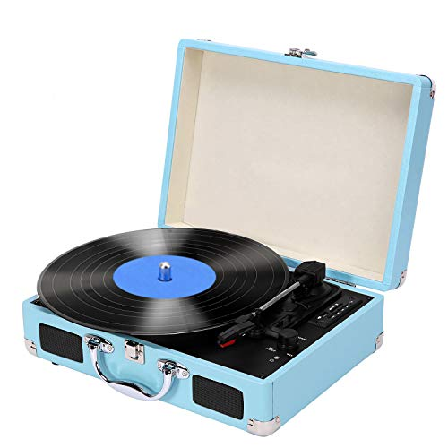 Vinyl Record Player, MSTING LP 3-Speeds Bluetooth Suitcase Turntable Player with Speakers Supports USB/SD/RCA Output/Headphone Jack, Blue