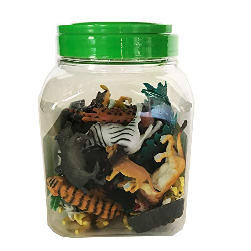 BOLEY 40 piece Bucket of Safari Animals - Assorted Jungle Animals Educational Toys for Toddlers