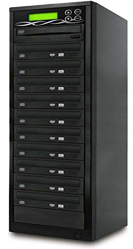 Bestduplicator 10 Target DVD CD Duplicator with DVDRW Burners Athena Duplication Controller, Standalone Copier Tower Replication Recorder Black