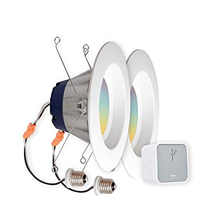 """SYLVANIA Smart+ Starter Kit, Includes: (2) Connected 5"""" or 6"""" Recessed Lights, 65W Equivalent, Warm White to Daylight and RGBW Color Adjustable and (1) Gateway, 73810 (Formerly LIGHTIFY)"""