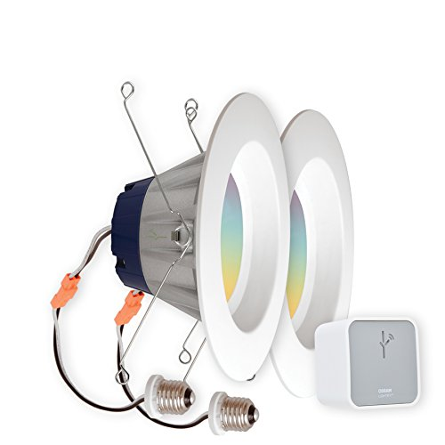 SYLVANIA LIGHTIFY Starter Kit, Includes 2 LIGHTIFY ZigBee Full Color RT 5/6 Recessed Lights, 65W Equivalent, and 1 OSRAM LIGHTIFY Gateway by Sylvania Smart Home