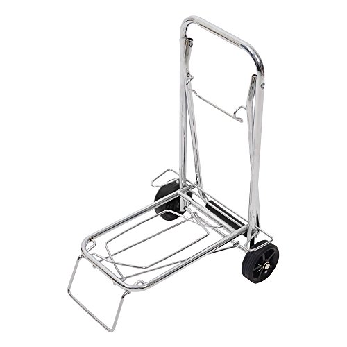 Lucky Tree Aluminum Folding Hand Truck Portable Fold Up Dolly with Wheels for Indoor Outdoor Travel Shopping Office,55lbs (Silver) by Lucky Tree