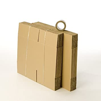 20 cajas de cartón cajas de cartón con 1 libre rollo de cinta de embalaje: Amazon.es: Oficina y papelería