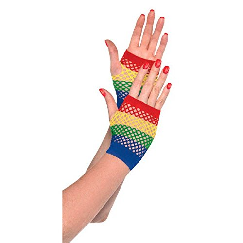 Rainbow Fingerless Gloves (DesignWare Short Fishnet Gloves, Rainbow)