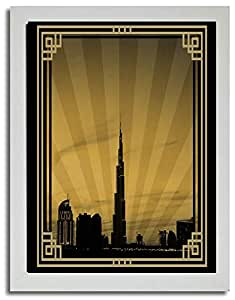 Dubai Skyline Down Town - Sepia With Gold Border No Text F03-m (a3) - Framed