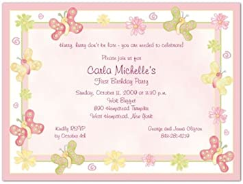 Butterflies 1st Birthday Invitations