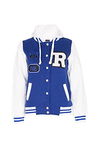 Noroze Femmes Baseball R Varsity veste Sweat  capuche Taille 36 38 40 42 44 Blu Reale