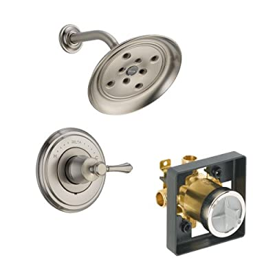 Delta Delta KSDCA-T14297-H797-SS Cassidy Shower Kit Pressure-Balance Single-Function Cartridge with Metal Lever Handle, Brilliance Stainless Brilliance Stainless