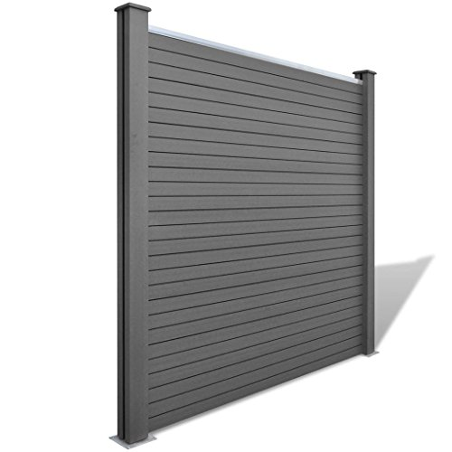 Festnight 2 Piece Square WPC Garden Fence Panel Privacy Screen Gray 154.3