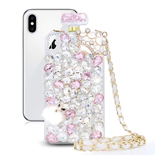 - Fusicase for iPhone XR Perfume Bottle Case Luxury Bling Diamond Crystal Sparkle Rhinestone Glitter Case 3D Handmade Crown Fox Cover with Chain Lanyard Case for iPhone XR Pink