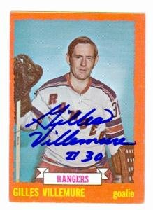 Autograph Warehouse 64812 Gilles Villemure Autographed Hockey Card New York Rangers 1973 Topps No. 153