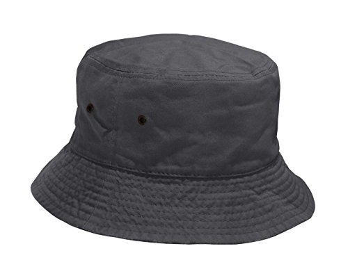 Short Brim Visor Cotton Bucket Sun Hat (Small/Medium, Charcoal)