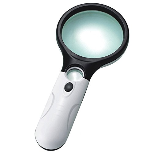DiamondBack Magnifying Glass 3X 45X Magnifying Glass 3LED Lights Magnifier with Light Great Elderly Gift Magnifying Glass, Has 3X LED Lights for Night Reading