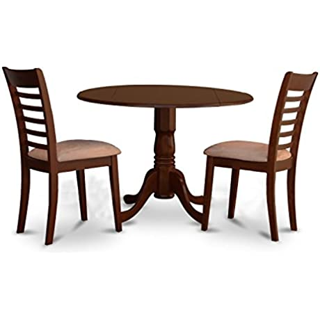 East West Furniture DLML3 MAH C 3 Piece Round Kitchen Table And 2 Small Dining Chairs Set