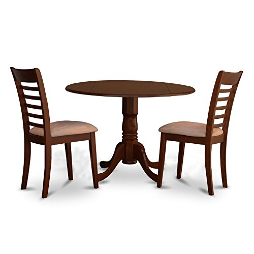 East West Furniture DLML3-MAH-C 3 Piece Round Kitchen Table and 2 Small Dining Chairs Set