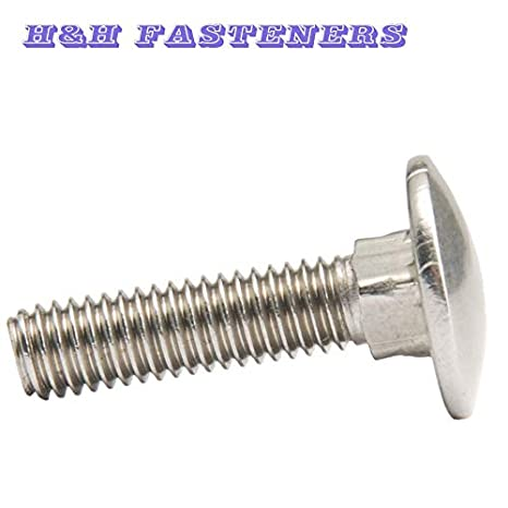 Dimensions: M8 x 60mm 8pcs A2 Stainless Steel Carriage Bolt Coach Bolt Pitch 1.25mm Length 12 to 60mm - Thread Dia.8mm Ochoos M8