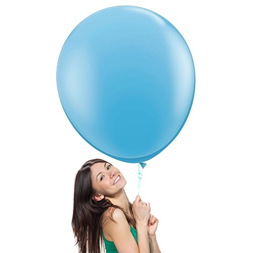 36 Inch (3 ft) Giant Jumbo Latex Balloons (Premium Helium Quality), Pack of 12, Regular Shape - Pale Blue, for Photo Shoot/Birthday/Wedding Party/Festival/Event/Carnival by Balloon Red