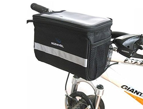 Handlebar Bag Dirt Mountain Bike Rack Bag Large Bicycle Cycling Basket with Sliver Grey Reflective Stripe Outdoor Exercise Bicycle Pack Bike Tool Accessories Black 3.5L