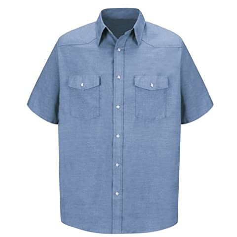 Red Kap Men's Deluxe Western Style Shirt, Light Blue, Short Sleeve 3X-Large - Deluxe Blue Shirt