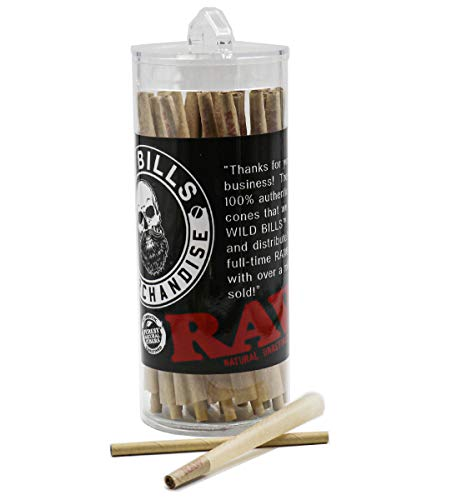 RAW Cones Classic Size | 52 Pack | Natural Pre Rolled Papers with Tips Included
