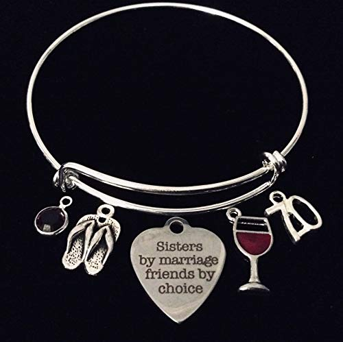 Sister in Law Expandable Silver Charm Bracelet Adjustable Bangle One Size Fits All Gift Red Wine Glass 70 Seventy Personalization Available